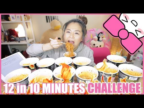 12 SPICY FIRE NOODLES in 10 MINUTES CHALLENGE!!