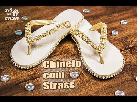 b9c34bdb7 Chinelo Decorado com Strass - #Diva - Como fazer ? Canal Tô em Casa ...
