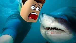 SWIMS WITH THE SHARKS IN ROBLOX