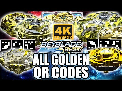 ALL GOLDEN BEYBLADES QR CODES IN 4K! BEYBLADE BURST APP EVOLUTION QR CODES