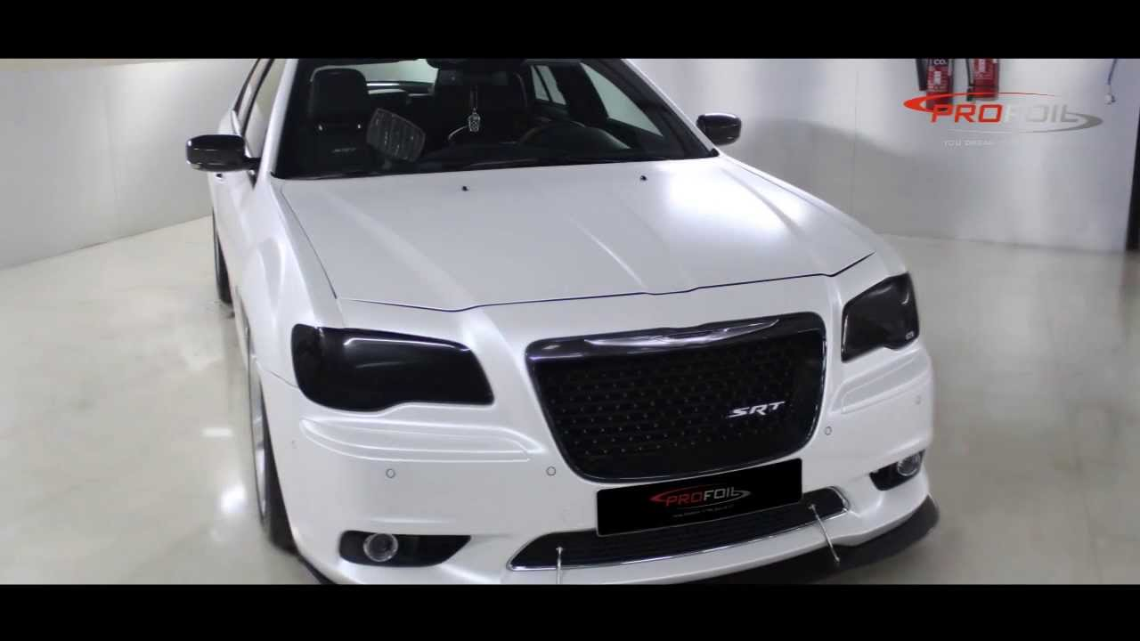 Dodge Challenger Conversion >> CAR WRAP DUBAI -- CHRYSLER SRT WRAPPED IN WHITE PEARL SEMI MATT DONE @ PROFOIL - YouTube