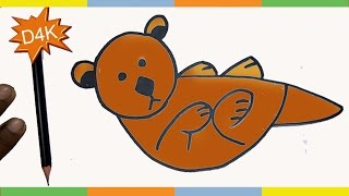 how to draw an otter with shapes step by step for kids young Draw an Otter cute and easy tutorials