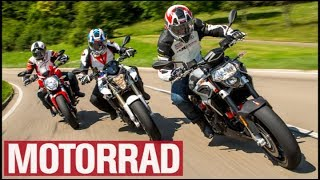 Aprilia Shiver 900 vs. BMW F 800 R vs. Ducati Monster 821 Stripe (English Subtitles)