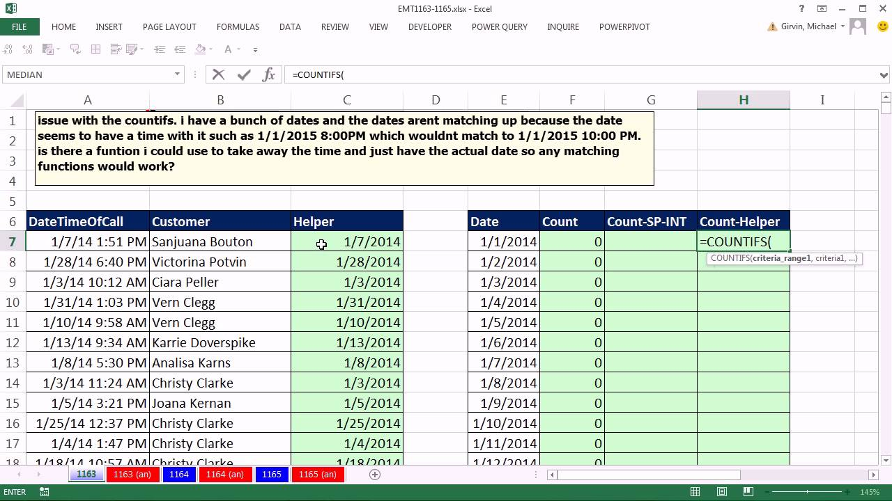 Excel Magic Trick 1163: COUNTIFS For Dates, When Dates