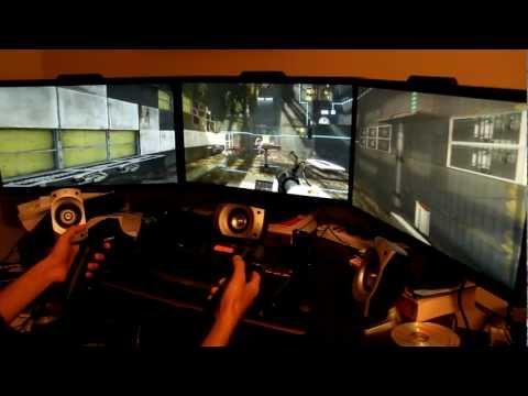 """PC Motion Control - Razer Hydra Portal 2 PREVIEW  - 3 x 27"""" EYEFINITY in 5760x1080"""