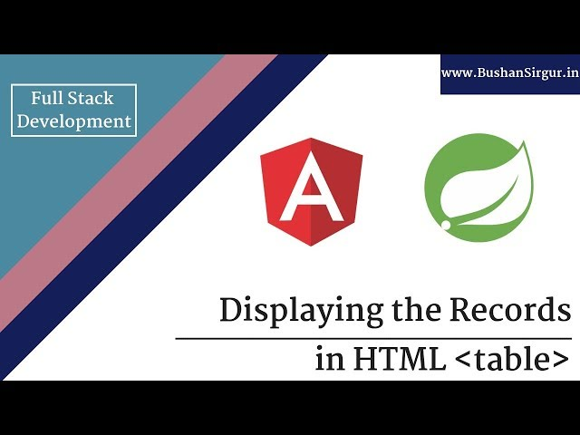 Angular and Spring MVC CRUD Tutorial - Display records in a html table - Part 17