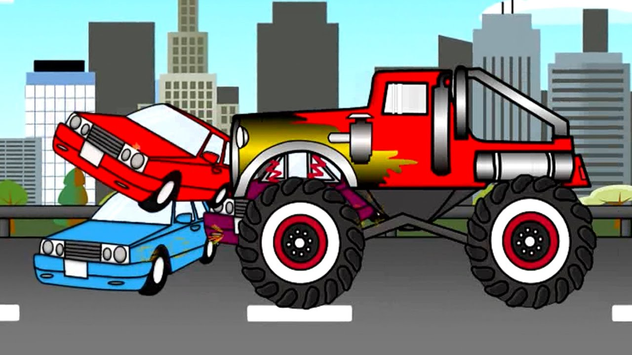Monster Truck Auta  Bajki dla dzieci  (cartoons for kids)