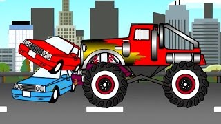 Monster Truck Auta  Bajki dla dzieci  (cartoons for kids)