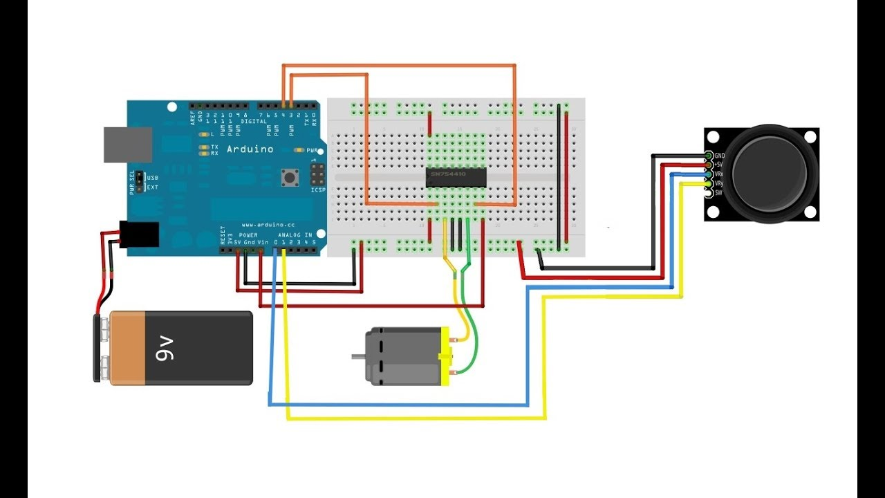 Arduino Projects Controlling Dc Motor With L293d Or L298n Circuit Driver And Joystick