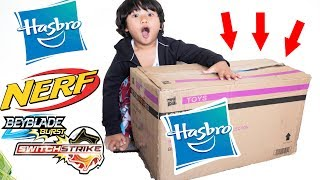 Unboxing Giant Mystery Box from HASBRO! Giant Surprise Toys!   Nerf Nitro   Beyblade Switchstrike