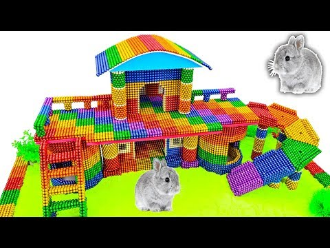 DIY - How To Build Amazing Rainbow Rabbit House With Magnetic Balls (Satisfying) - Magnet Balls
