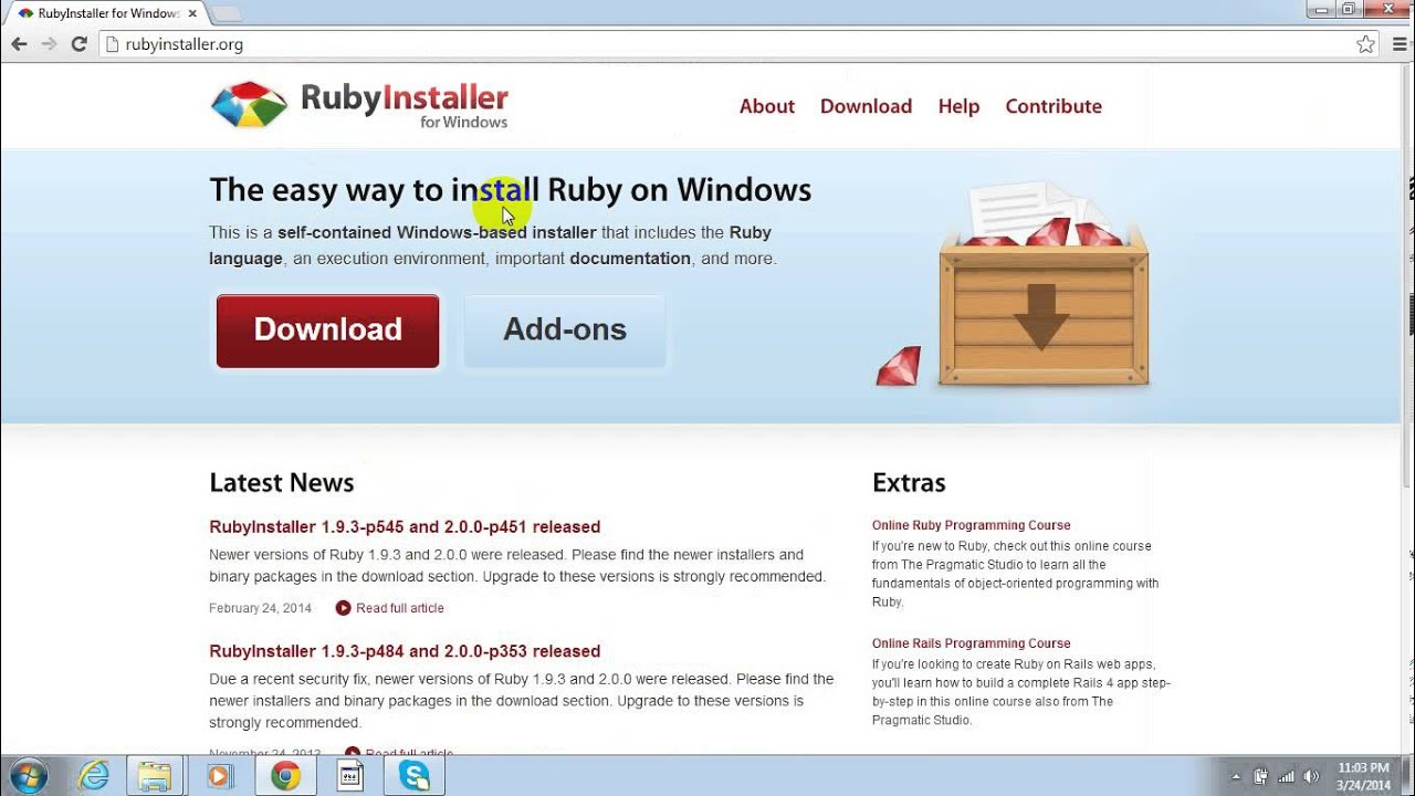 How to install ruby 2 0 0 on windows 7