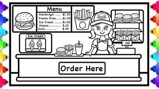 How to Draw Cheeseburger, Fries, Soft Drink  Ice Cream for Kids 🍔🍟🍦💜 Food Coloring Page 🍔🍟🍦💜