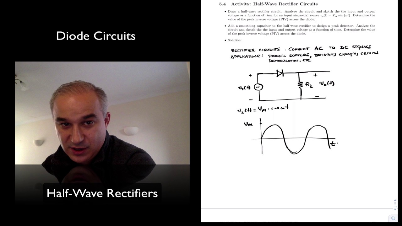 Half Wave Rectifier Circuits Youtube Do Diodes Work In A Circuit On Diode Schematic