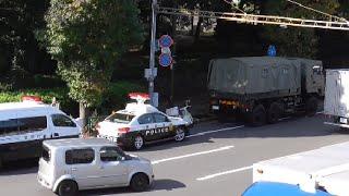 自衛隊車両が起こした自損事故現場!すでに所轄パトカーや鑑識が臨場し実況見分・交通整理が行われていた!Japanese Patrol car