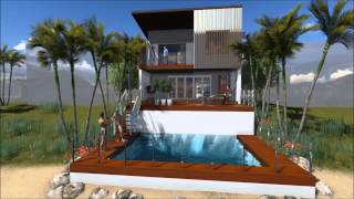 Modern House On Small Lot -- Hope Island, Queensland.  3d Flyover
