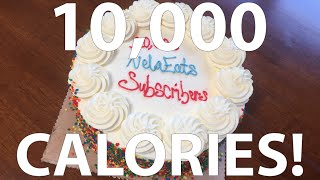 10,000 Calorie Rainbow Cake Challenge! (10,000 Subscriber Special)