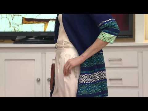Isaac Mizrahi Live! Zip Front Jacquard Border Print Jacket With Amy Stran
