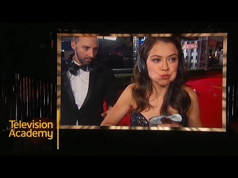 Emmys 2015 Best Moments | Tatiana Maslany  and Tony Hale Have A Bean Fight