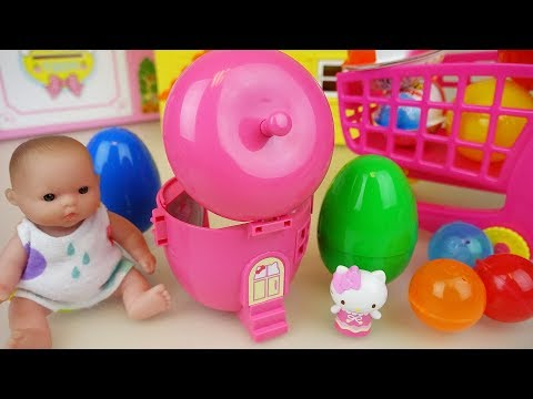 Thumbnail: Hello Kitty apple house and baby doll surprise eggs toys play