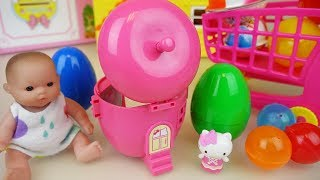 Hello Kitty apple house and baby doll surprise eggs toys play