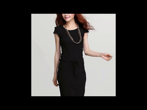 แฟชั่นชุดทำงานสวยๆ  : ชุดเดรสสั้นสีดำ  เข้ารูป