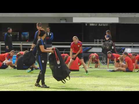 Morgan Brian at USWNT open training in Minneapolis