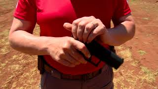 Shooting Instructor Michelle Cerino, offers tips to new female shoo...