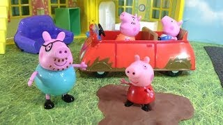 Peppa Pig Muddy Puddle Car  Toys Video Parody