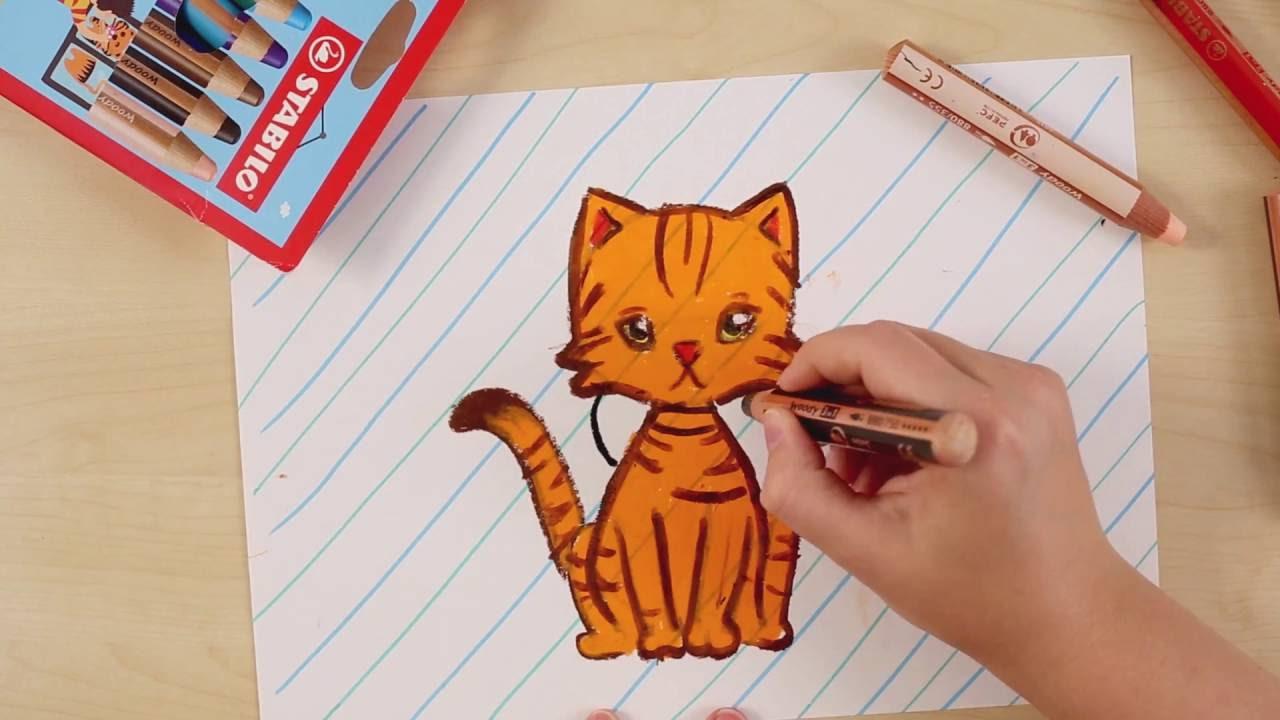 Hoe Teken Je Een Kat Stabilo Tekentutorials Gemiddeld