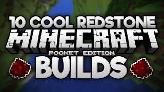 10 COOL REDSTONE CONTRAPTIONS! - Doors, Elevators, Bridges, & More! - Minecraft PE (Pocket Edition)