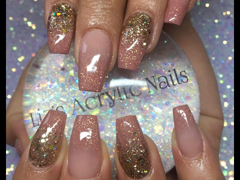 Acrylic Nails: Infill Ombre And Glitter
