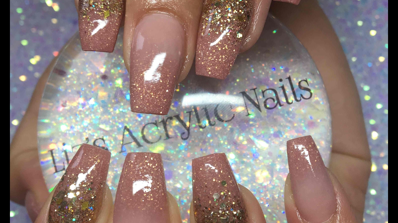 Acrylic Nails Infill Ombre And Glitter Rose Gold Youtube