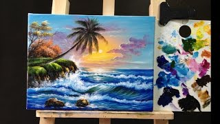 How to Paint a Seascape with Acrylics lesson 1