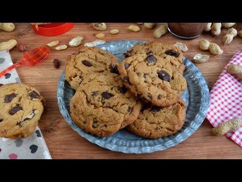 Galletas de mantequilla de cacahuete o maní y chocolate. Fáciles y sin complicaciones