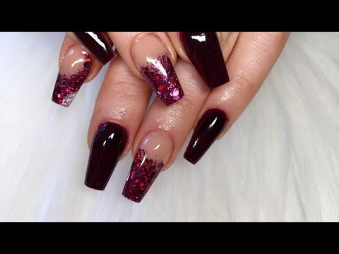 mulberry acrylic nails  short tapered square  youtube