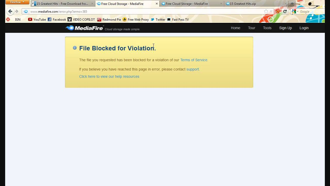 How To FIX!! File Blocked for Violation MEDIAFIRE and INSTALLOUS