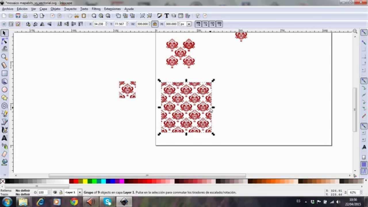 Inkscape, patron en mosaico 1 parte - YouTube