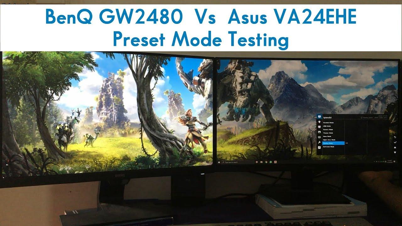 Asus VA24EHE vs BenQ GW2480 Preset Mode test - YouTube