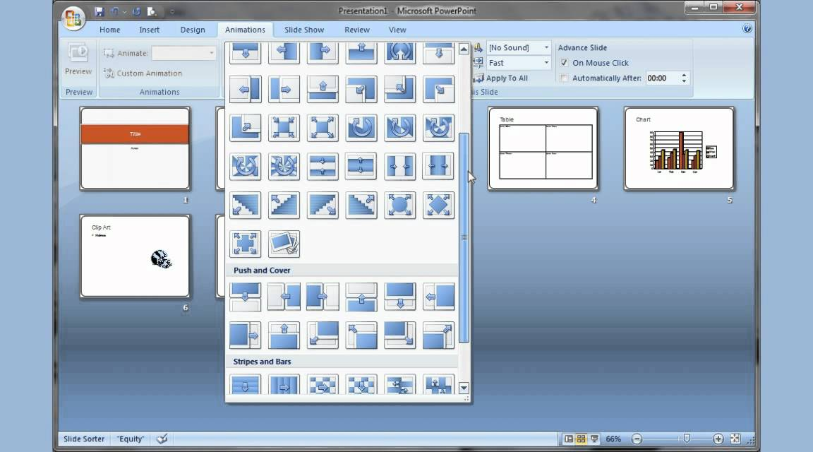 Microsoft PowerPoint 2007 pt 1 (Add slide, pictures, sound, video - types of power points