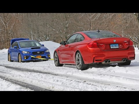 WRX STI vs BMW M4 snow tow (summer tires AWD vs winter tires RWD)