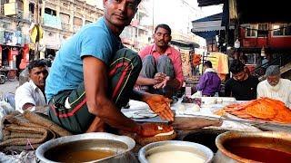 लखनऊ स्ट्रीट फ़ूड  - Kulcha Paratha with Mutton Stew - Best Tasty Non Veg Food Combination