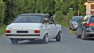 Classic Fords Leaving a Car Meet - June 2014