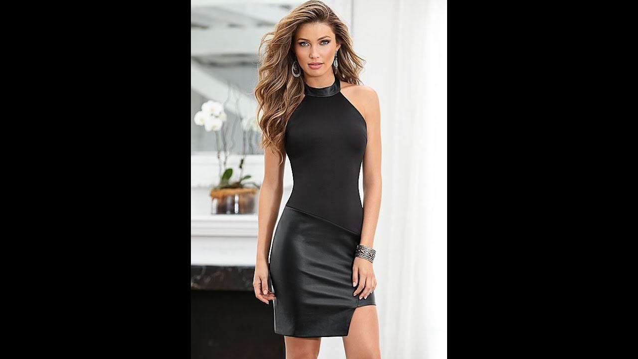 Women Black Leather Skirt - YouTube