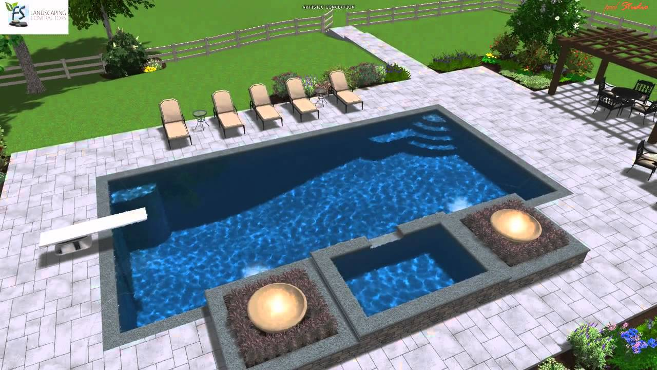 Swimming pool design with fire bowls youtube for Pool fire bowls