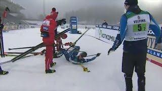 Skier tackles opponent after finish line, a breakdown