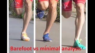 Barefoot vs minimal running shoe analysis review - Vibram FiveFingers, New Balance Minimus, MV2