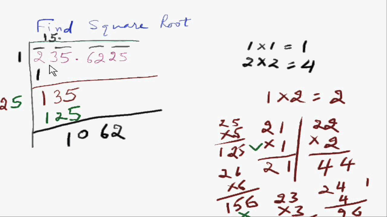 Square root of decimal numbers without calculator youtube.