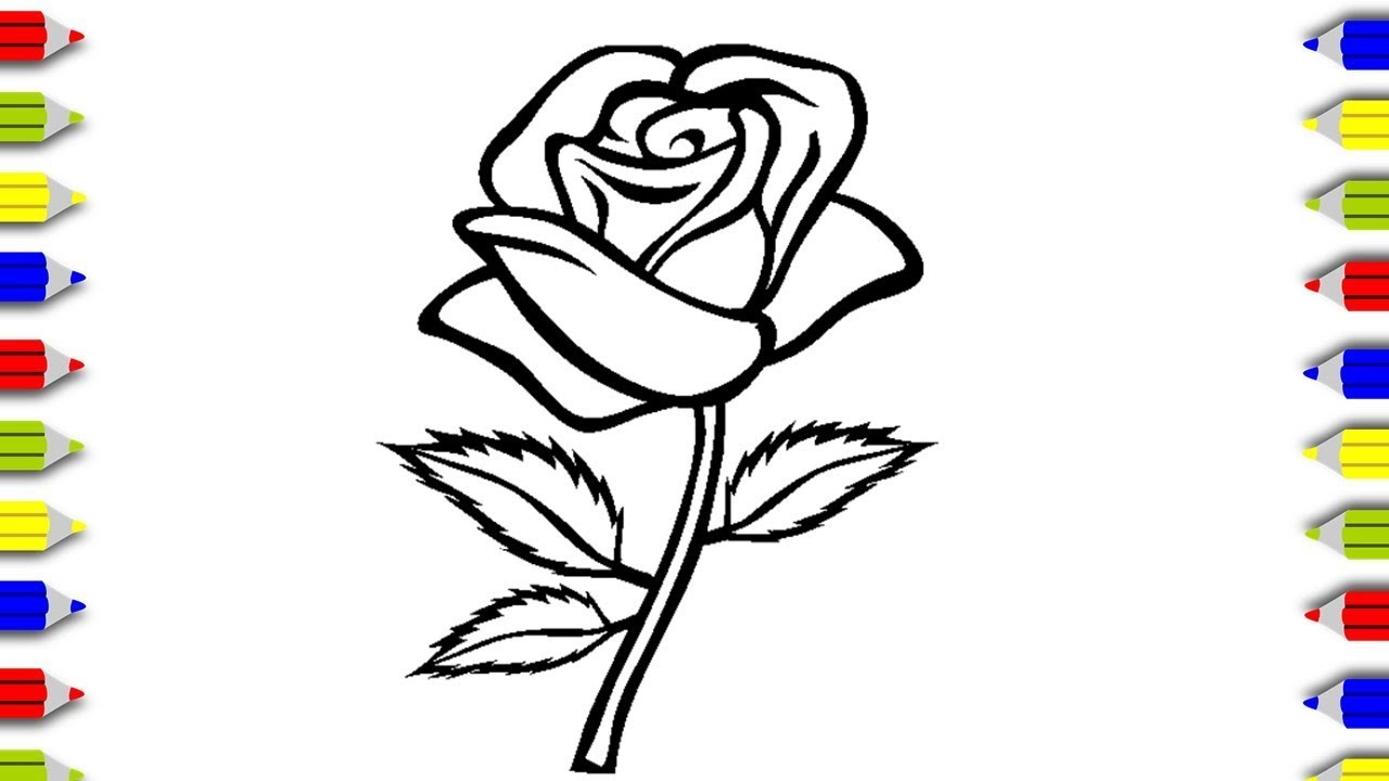 Coloring Rose For Kids Coloring Flowers Coloring Pages For
