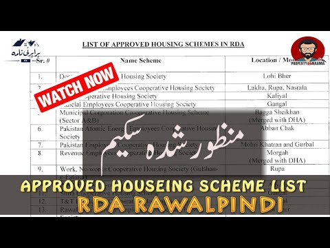 List Of Approved Housing Schemes in Rawalpindi | RDA | Legal Projects